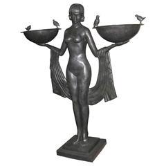 XL Art Deco Style Bronze Biba Girl Statue Odalisque Figurine