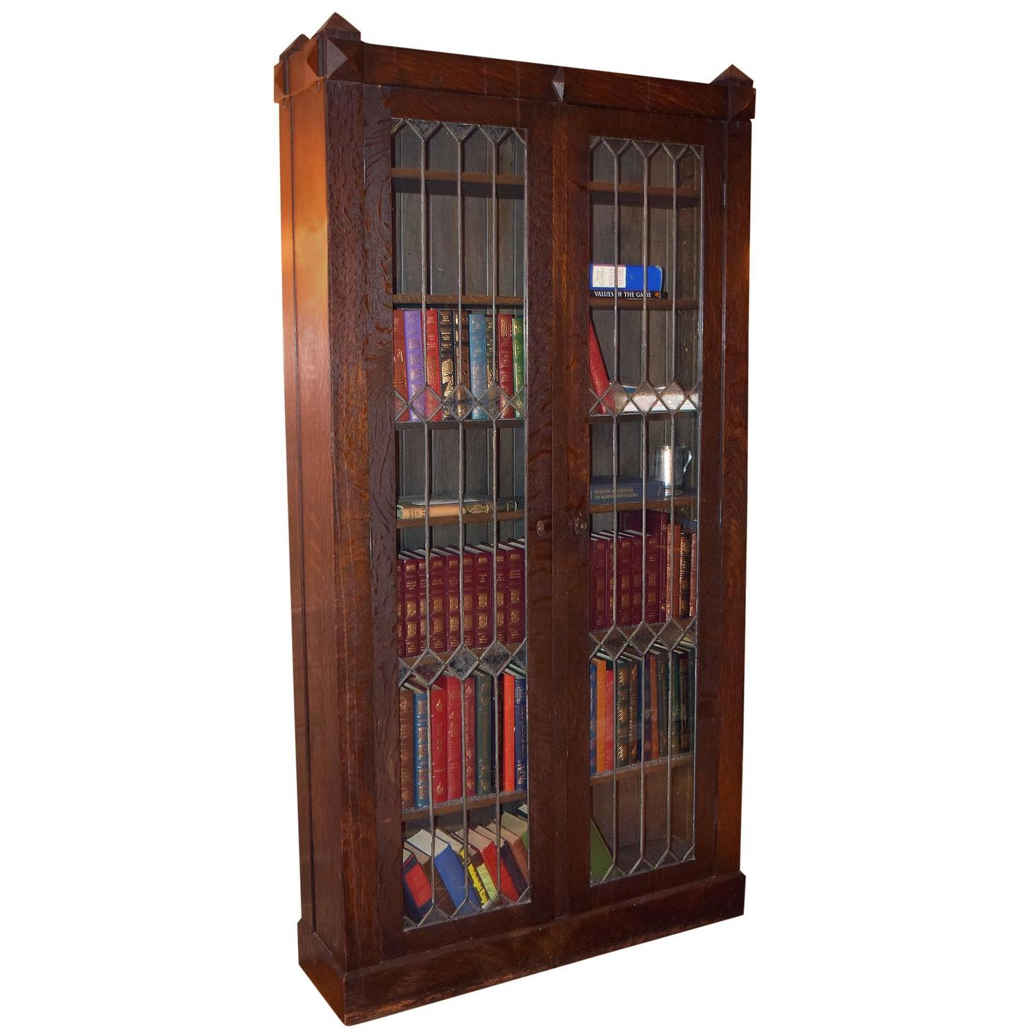 Arts and crafts style oak bookcase with leaded glass doors for Arts and crafts bookshelf