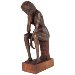 Hand-Carved Wood Contemplative Seated Nude Sculpture by Aldo Calo
