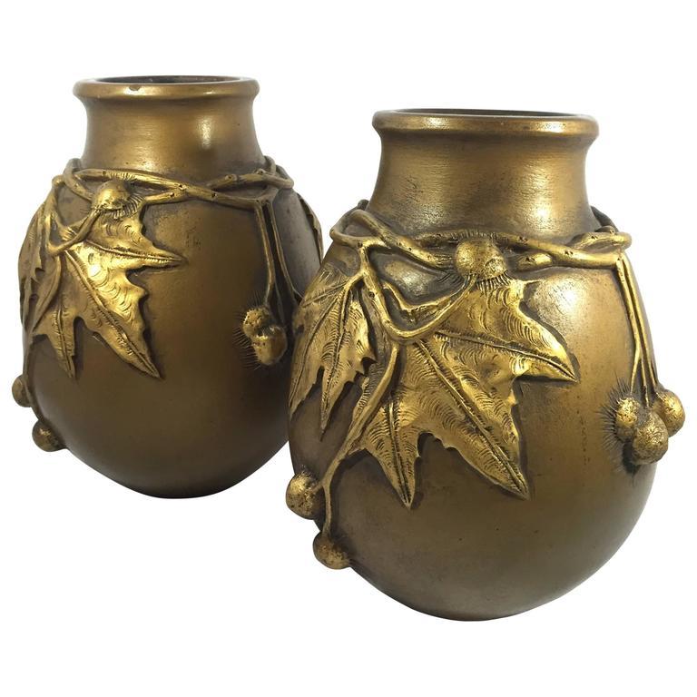 Laurent & Desrousseaux, Pair of Art Nouveau vases, France, 1900 For Sale
