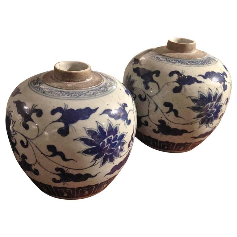 Pair of Chinese Qing Guangxu Blue and White Porcelain Melon Jars