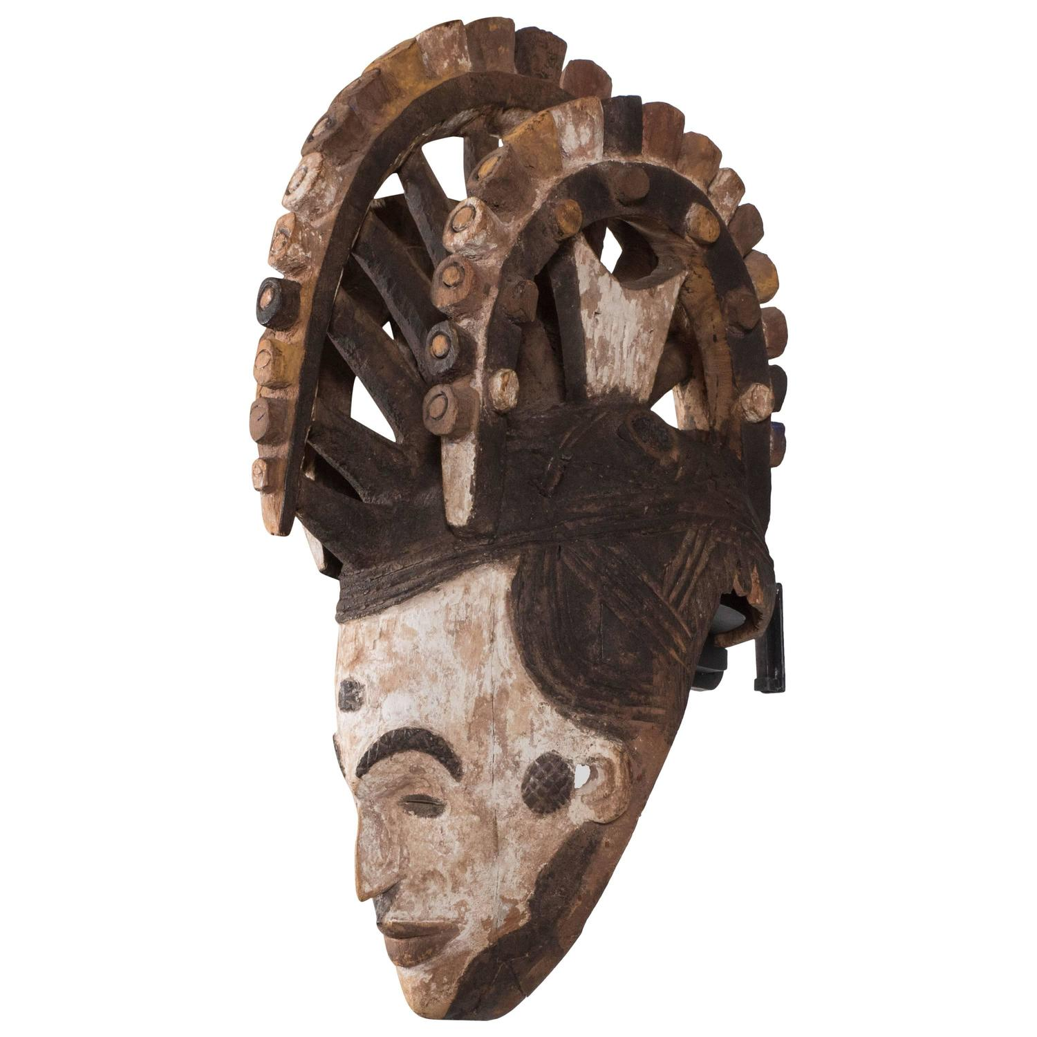Wall mounted carved wood sculpture of igbo mask nigeria late 19th century for sale at 1stdibs