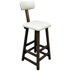 Tall Arts & Crafts Ebonized Maple Leather Upholstered Stool