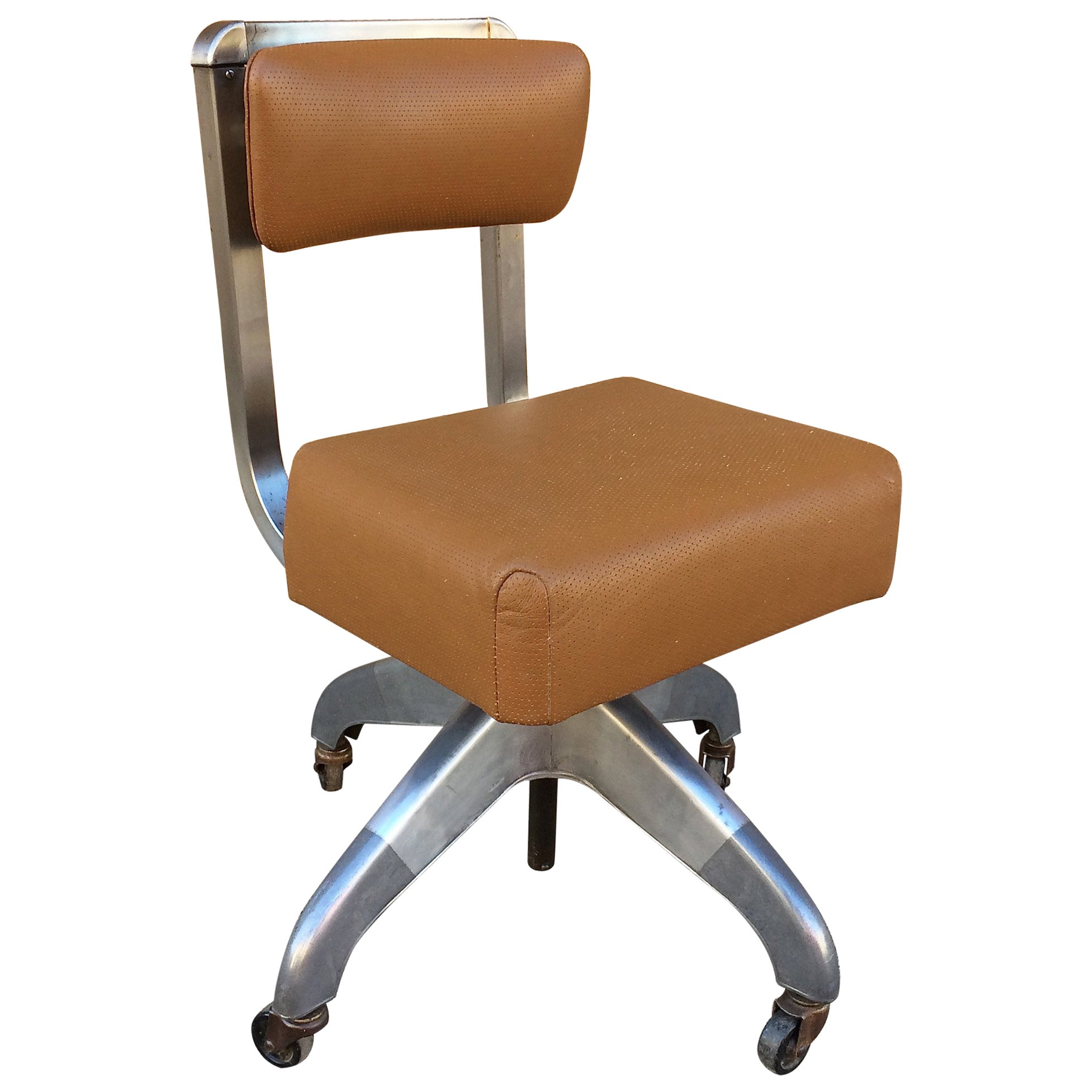 Mid Century Leather Upholstered Rolling Office Desk Chair By DoMore At  1stdibs