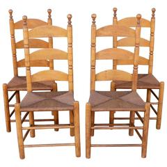 19th Century Original Old Surface Maple Ladderback Chairs