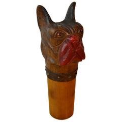 1920s Bulldog Walking Stick Head