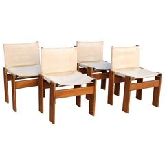 """Italian Set of Four """"Monk"""" Chairs Designed by Afra & Tobia Scarpa"""