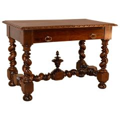 19th Century Walnut Table with Vine Twist Legs