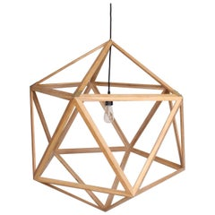 Modern Dodecahedron Hanging Wood Hanging Chandelier