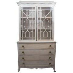 Georgian Style Bookcase Later Cream-Painted