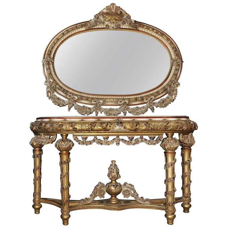 Louis xvi style painted console table and mirror set for Baroque mirror canada