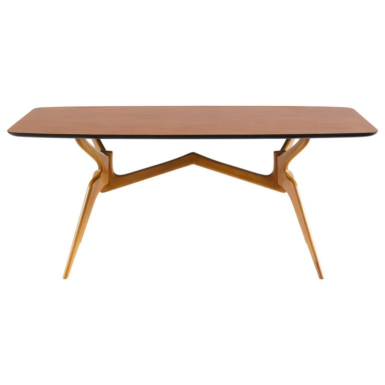 Sculptural Blonde Dining Table Attributed to Ico Parisi, 1950