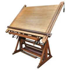 French Adjustable Architect's Drafting Table, 1900s