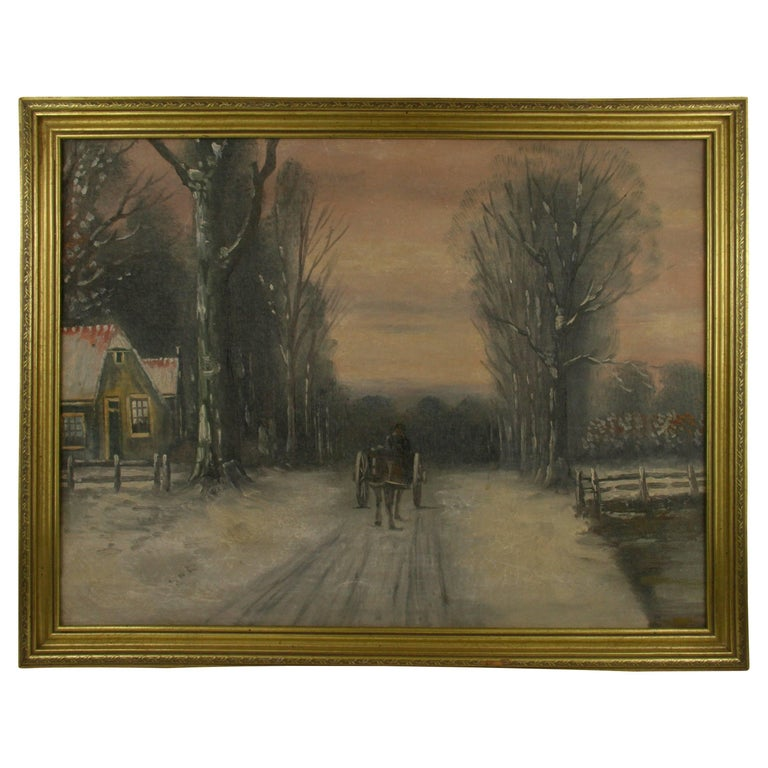 Dutch Winter Scene Painting For Sale
