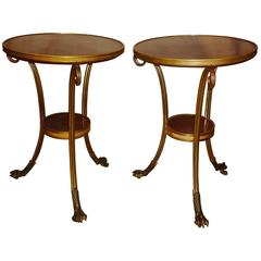 Pair of French Tripod Gueridons with Porphyry Tops, Model by Weisweiler, 1870