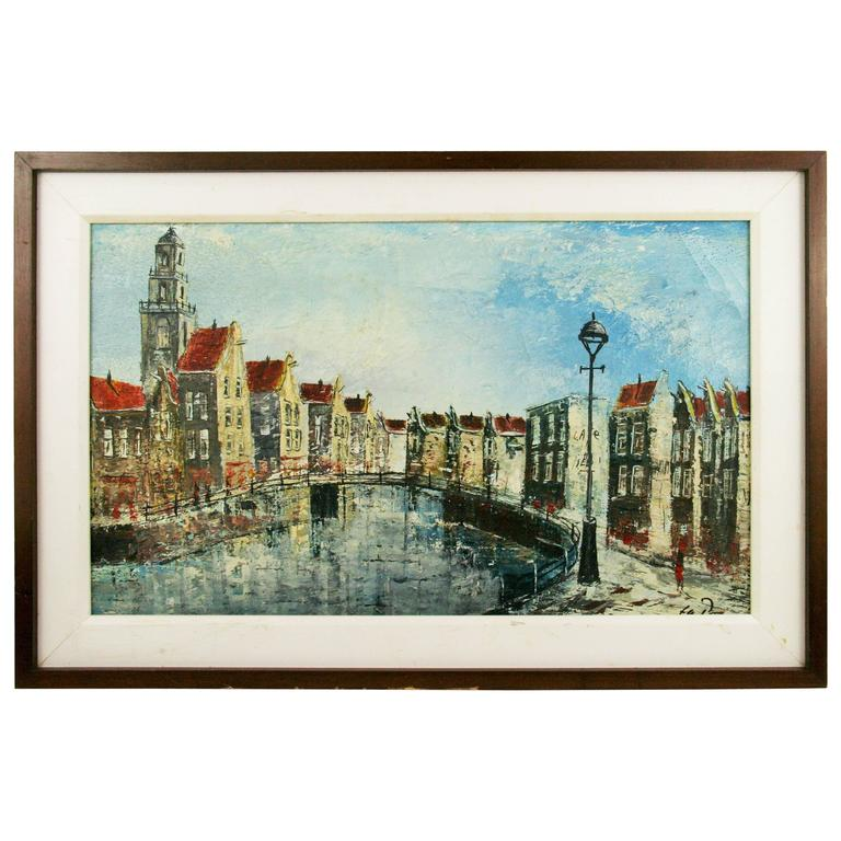 Dutch Canal Scene Painting For Sale