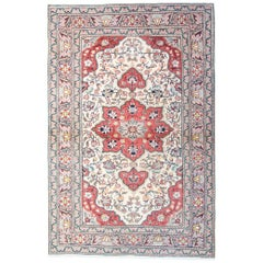 Turkish Vintage Rug, Cream Rug with Traditional Persian Rug Designs