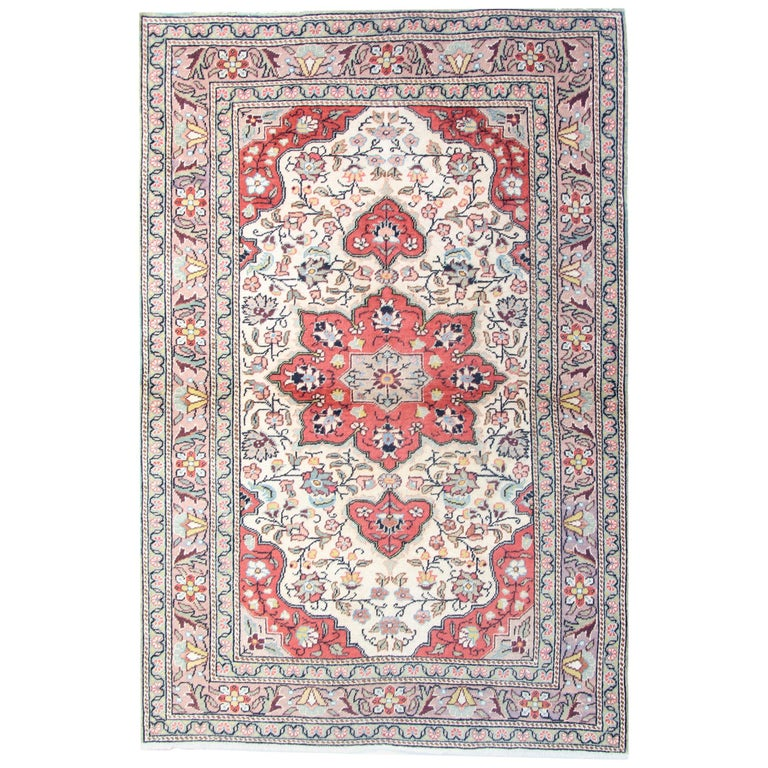 Turkish Vintage Rug Cream With Traditional Persian Designs For At 1stdibs