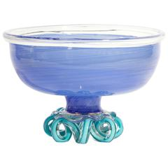 A.D. Copier and Lino Tagliapietra, One-off Blue Art Glass Bowl 'Tazza'