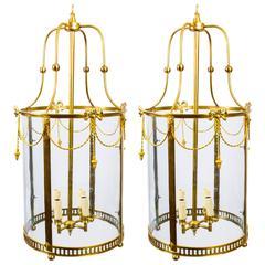 Pair of Sheraton Style Solid Brass Circular Lanterns