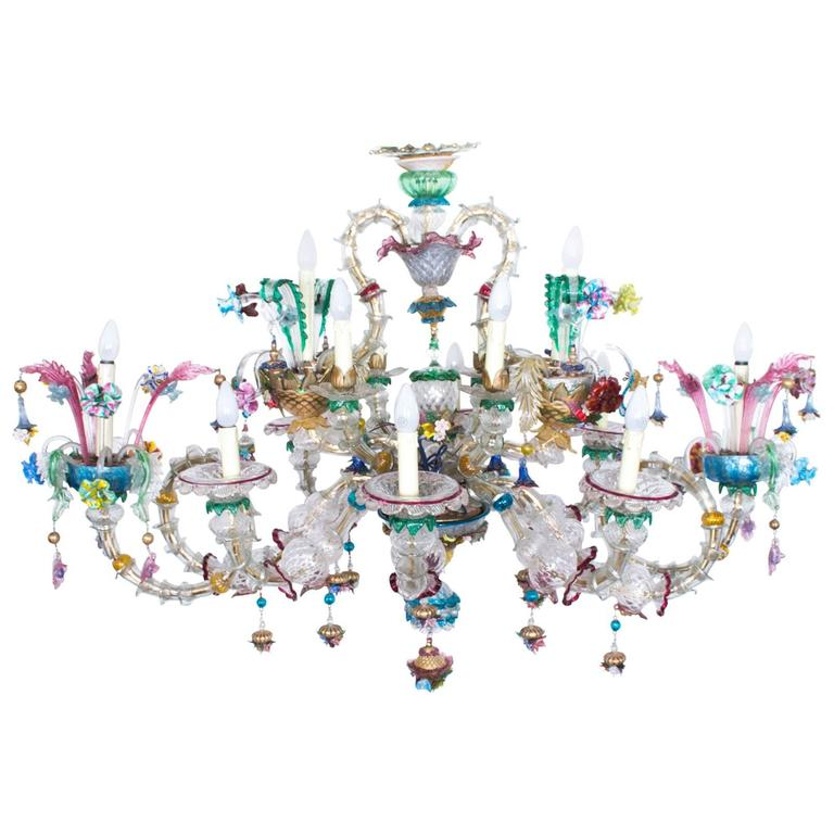 Antique Venetian Glass 14 Branch Murano Chandelier, circa 1850 For Sale - Antique Venetian Glass 14 Branch Murano Chandelier, Circa 1850 At