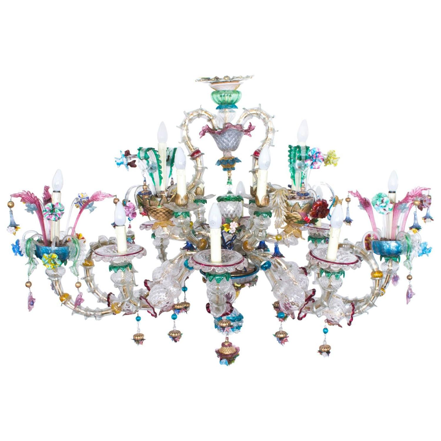 Antique Venetian Glass 14 Branch Murano Chandelier circa 1850 at
