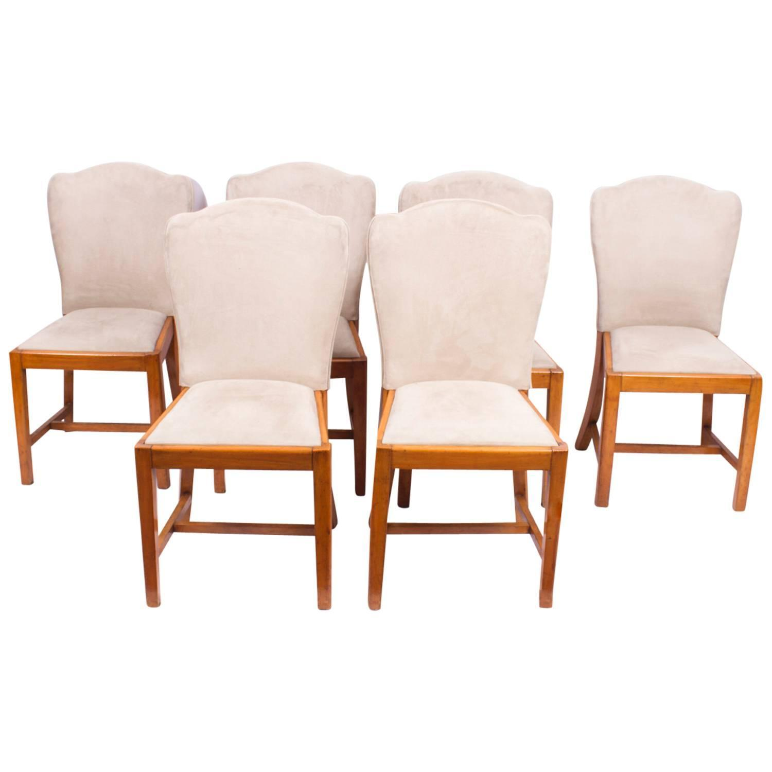 Antique set of six walnut art deco dining chairs epstein circa 1930 for sale at 1stdibs - Epstein art deco furniture ...