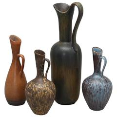 Gunnar Nylund, Rørstrand Four Jugs, Stoneware Glaze in Blue, Brown,Yellowbrown