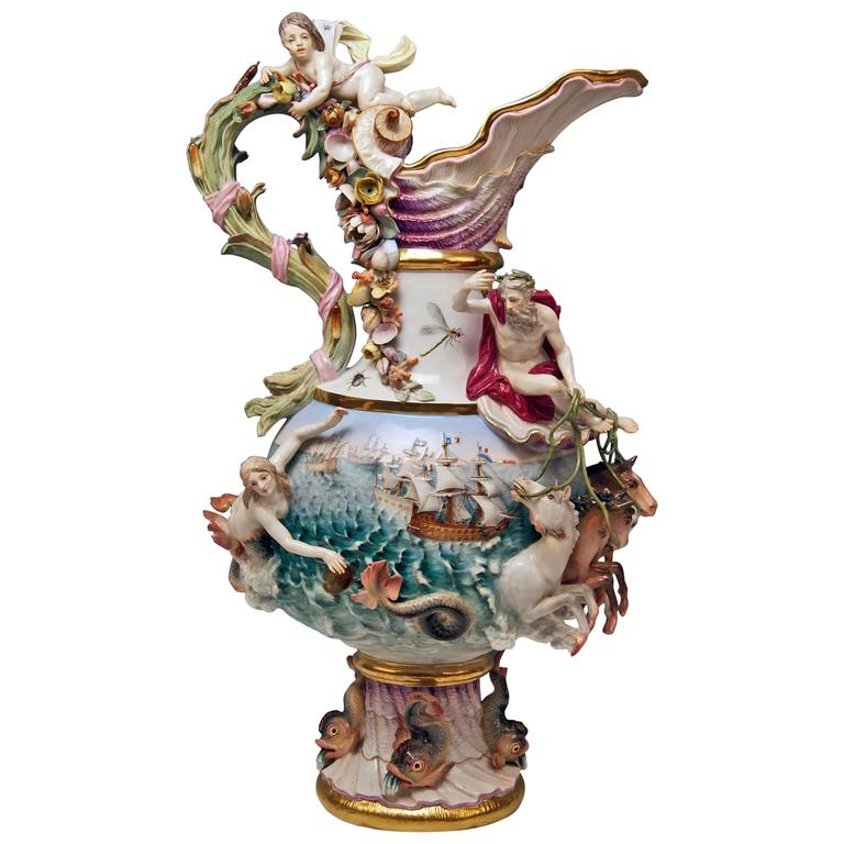 MEISSEN HUGE EWER THE WATER FOUR ELEMENTS BY KAENDLER height 25.78 inches c.1860 1