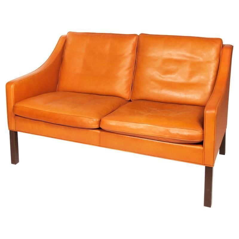 B Rge Mogensen Orange Leather Two Seat Sofa 1960s For