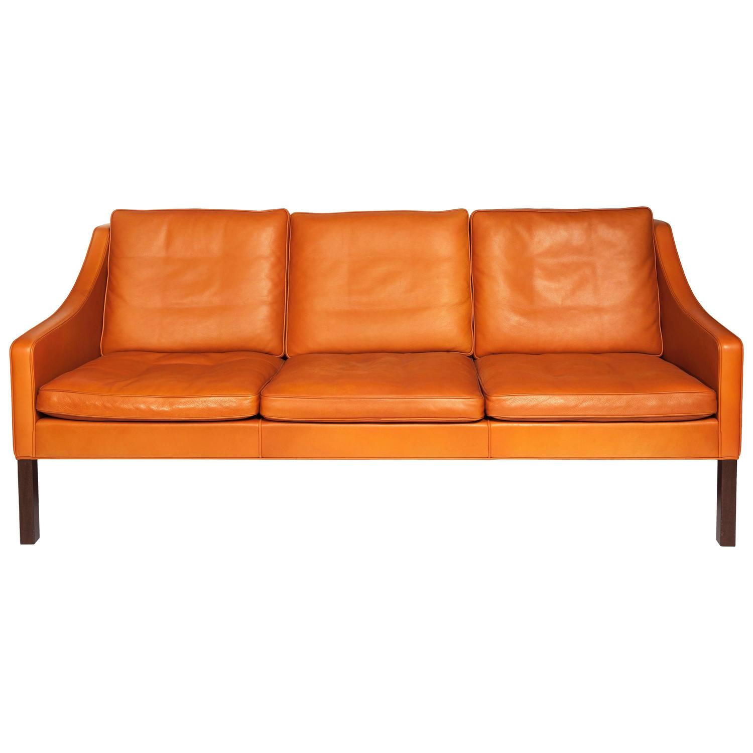 b rge mogensen orange leather three seat sofa 1960s for sale at 1stdibs. Black Bedroom Furniture Sets. Home Design Ideas