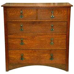 Arts and Crafts Oak Chest of Drawers, Stamped Heals of London