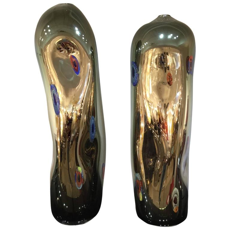 Pair of Italian Vases in Murano Glass by Davide Dona
