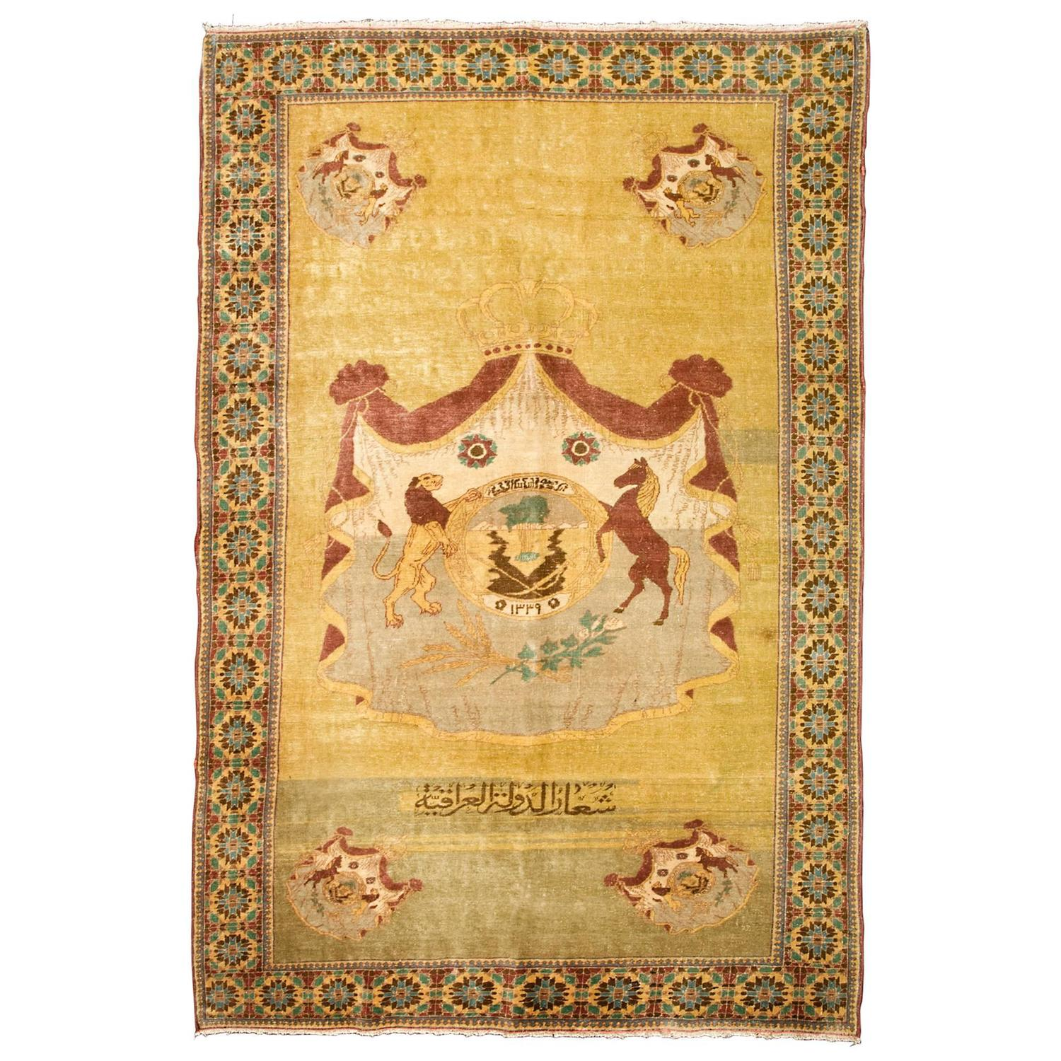 Early 20th Century Wool Rug With The Coat Of Arms Of The