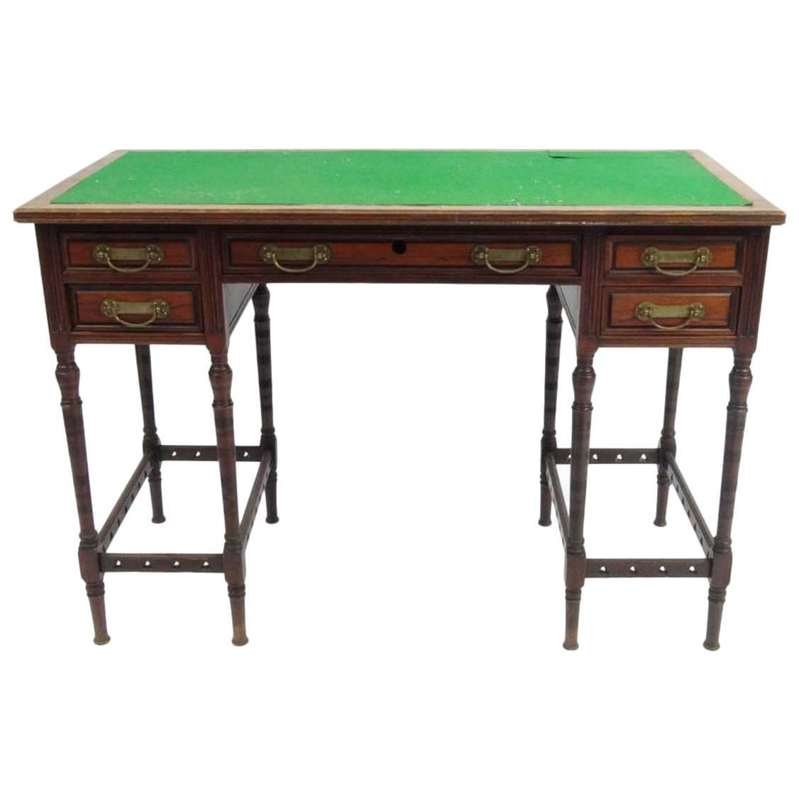 Arts and crafts writing desk attributed to e w godwin for for Art and craft desk with storage