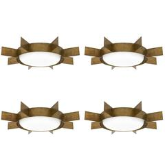 "Gio Ponti Brass ""Sole"" Ceiling Lights, 1950s"