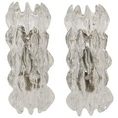 Grand Scale Ice Glass Kalmar Sconces