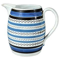 Pearlware Blue Glazed Mocha Slip-Inlaid Rouletted Jug
