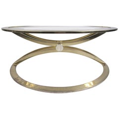 Mid-Century Modern Brass and Glass Circular Coffee Table