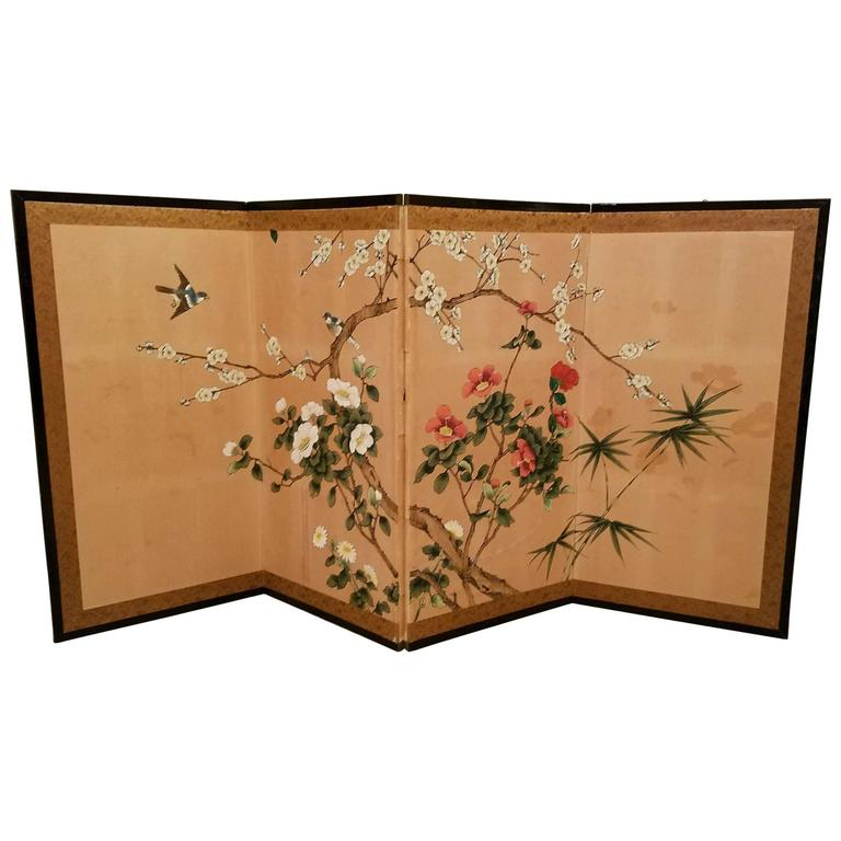 Antique Japanese Hand Painted Four Panel Folding Table