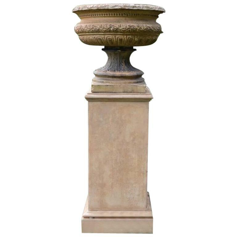 Stoneware Urn Marked Doulton on Stand 1