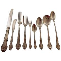 """English Gadroon by Gorham Sterling Silver Flatware Service for Eight, """"H"""" Mono"""