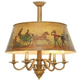 Original Edwardian Six-Light Chandelier with Hand-Painted Vellum Lampshade