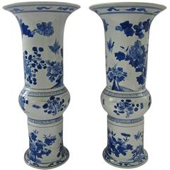 Pair of Large Blue and White Chinese Trumpet Vases