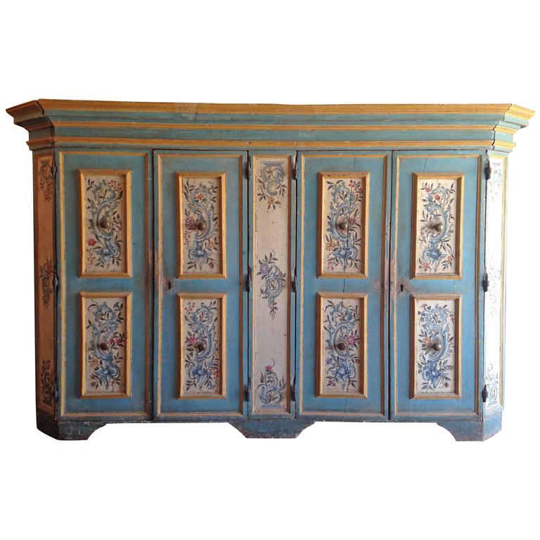 Antique italian painted armoire for sale at 1stdibs for Italian painted furniture