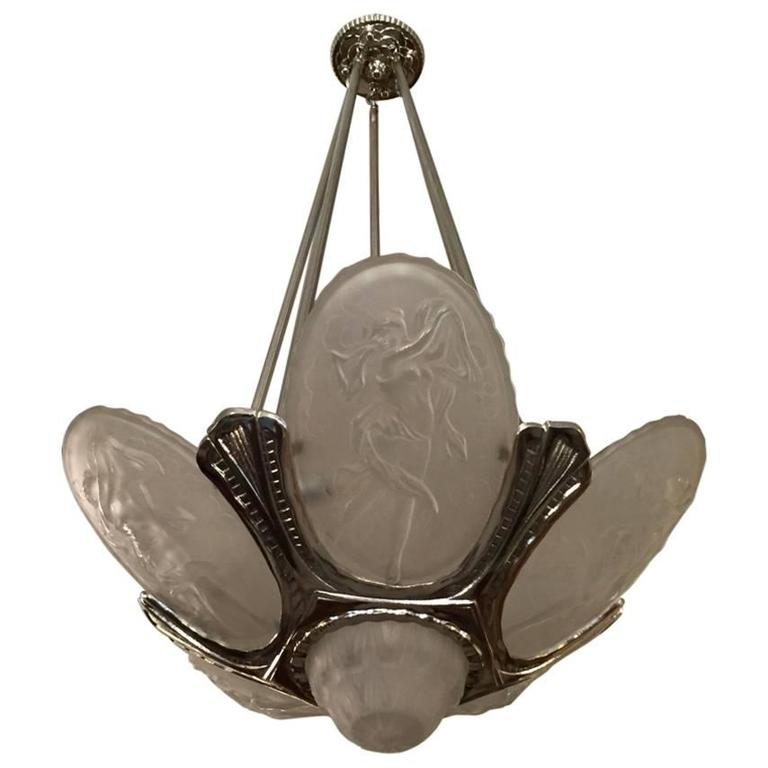 French Art Deco Chandelier by Muller Frères