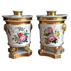 Beautiful Pair of Footed Potpourris with Floral Design and Parcel Gilt