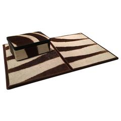 Luxurious Vintage Zebra Hide Desk Set