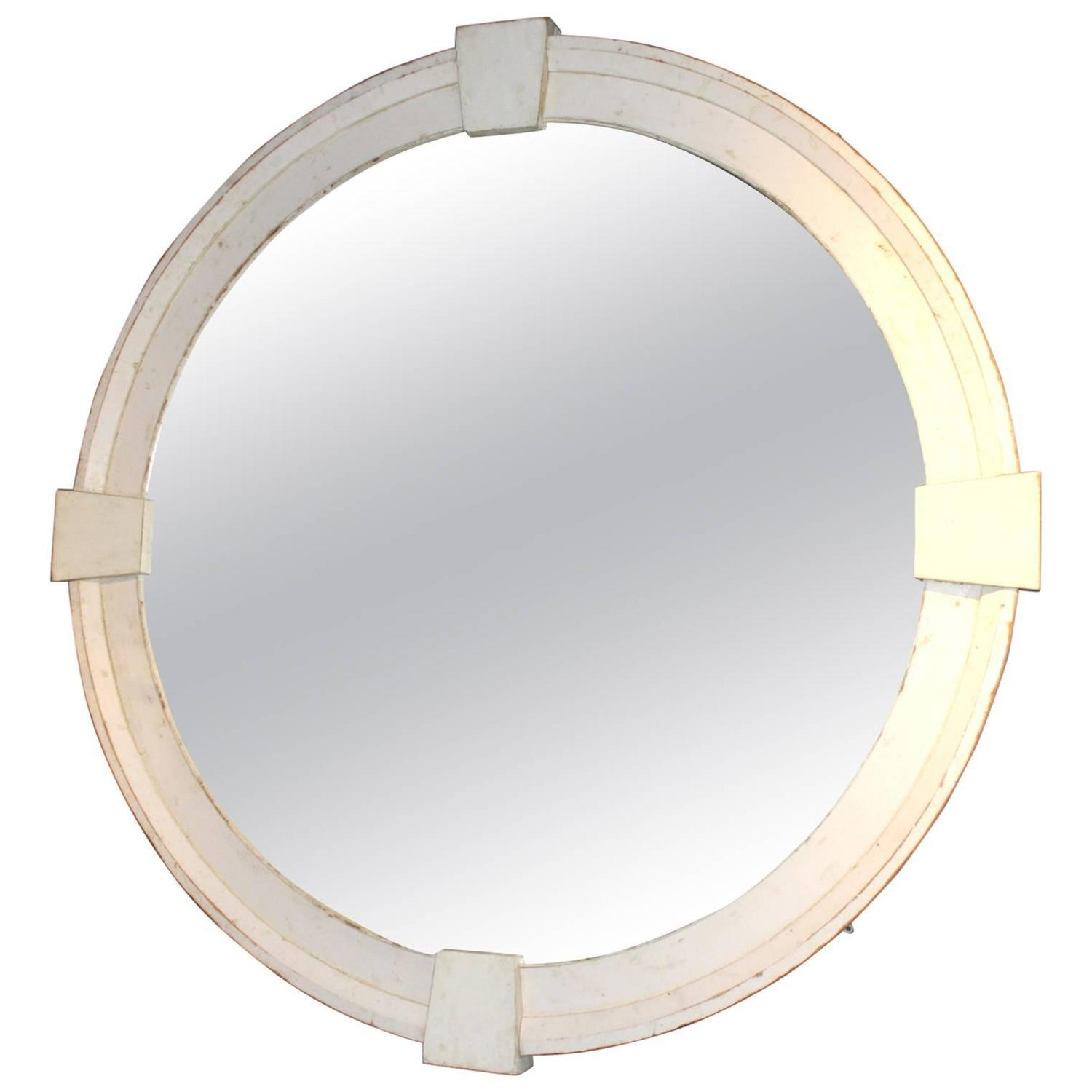 Monumental round wood framed mirror with architectural Round framed mirror