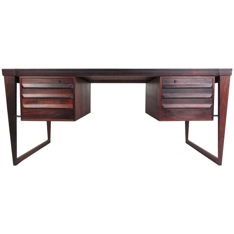 Mid-Century Modern Rosewood Executive Desk by Kai Kristiansen For Sale